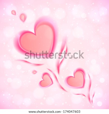Abstract flowing pink hearts Valentines card