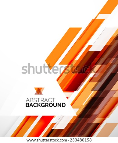 Abstract flyer brochure template design background, simple geometric shapes on white, straight lines and blocks - stock photo
