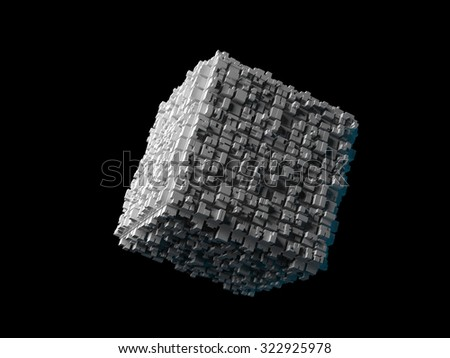Abstract flying cube with chaotic extruded surface isolated on black, 3d illustration - stock photo