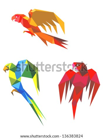 Abstract flying origami parrots isolated on white background. Vector version also available in gallery - stock photo