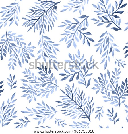 Abstract foliate watercolor paintings. Seamless Ornament in Serenity Tint. Watercolour Texture in Pastel Colors. - stock photo