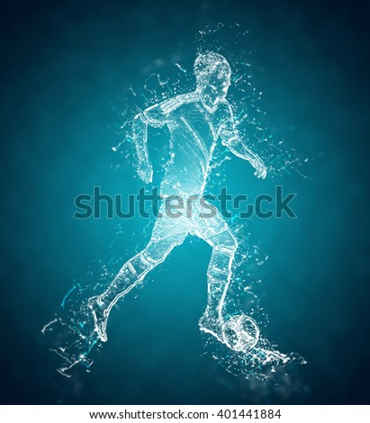 Abstract football (soccer) player controls a ball. Crystal ice effect - stock photo