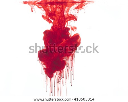 Abstract form of blood or red color in water, isolated on white background.  - stock photo
