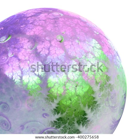 Abstract fractal alien planet, digital artwork for creative graphic design - stock photo