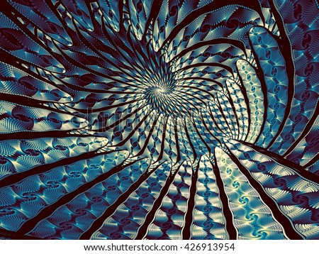 Abstract fractal background - computer-generated blue image. Fractal art - unusual spiral tunnel. Trendy fractal for prints, covers, web-design - stock photo