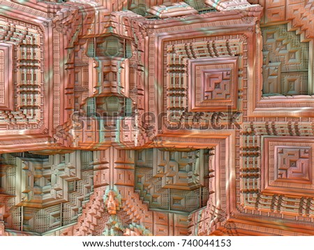 Abstract fractal background computer-generated 3D illustration