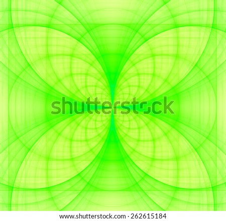 Abstract fractal background made out of bright pastel interconnected arches and circles creating a detailed flower-like geometric cross, all in high resolution and in yellow and green - stock photo