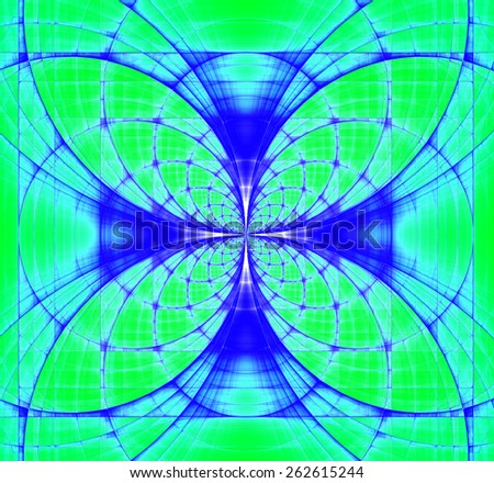 Abstract fractal background made out of vivid interconnected arches and circles creating a detailed flower-like geometric cross, all in high resolution and in green,teal,blue - stock photo