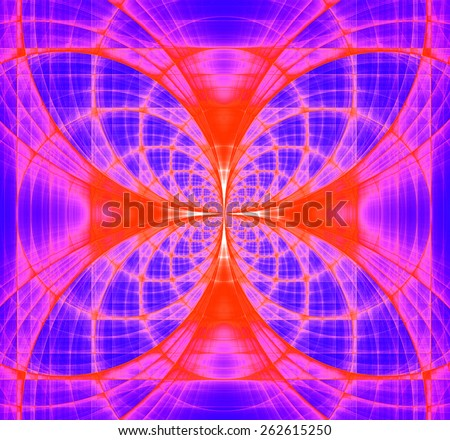 Abstract fractal background made out of vivid interconnected arches and circles creating a detailed flower-like geometric cross, all in high resolution and in pink,purple,red - stock photo