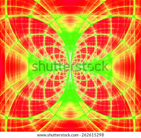 Abstract fractal background made out of vivid interconnected arches and circles creating a detailed flower-like geometric cross, all in high resolution and in red,yellow,green - stock photo