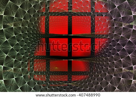 Abstract fractal background of lattices and curves red / green /violet for art projects - stock photo