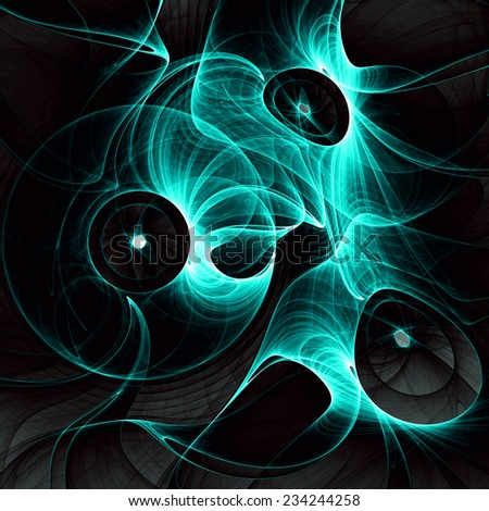 Abstract fractal background of vivid cyan circles (rings) against black  background and in high resolution