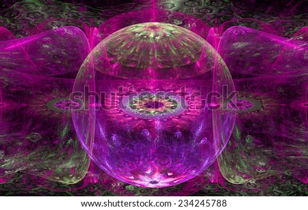 Abstract fractal background with a detailed decorative ball in the center surrounded and decorated by star/flower-like pattern and hexagonal discs, all in pink and green - stock photo