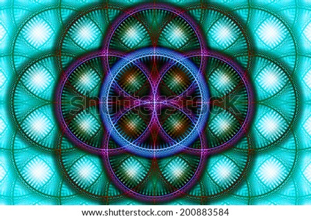 Abstract fractal background with a detailed decorative flower of life pattern in high resolution in green, pink, yellow and blue colors against white - stock photo
