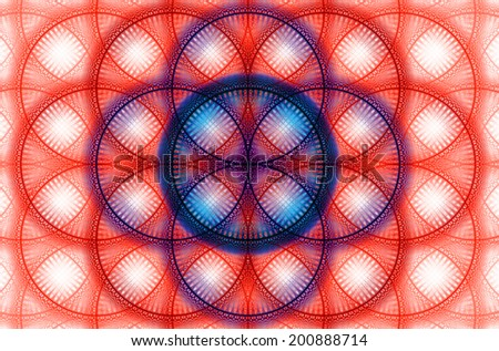 Abstract fractal background with a detailed decorative flower of life pattern in high resolution in red, pink and blue colors against white color - stock photo