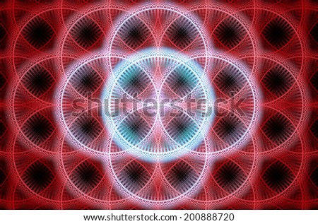 Abstract fractal background with a detailed decorative flower of life pattern in high resolution in shining red and blue colors against black color - stock photo