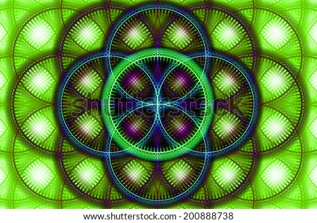 Abstract fractal background with a detailed decorative flower of life pattern in high resolution in green, blue and red colors against white color - stock photo