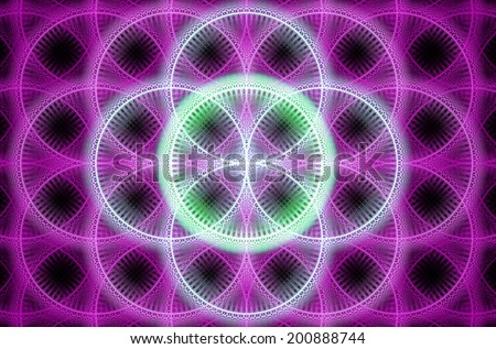 Abstract fractal background with a detailed decorative flower of life pattern in high resolution in shining pink and green colors against black color - stock photo
