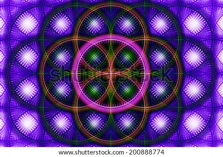 Abstract fractal background with a detailed decorative flower of life pattern in high resolution in purple, pink, yellow and green colors against white color - stock photo