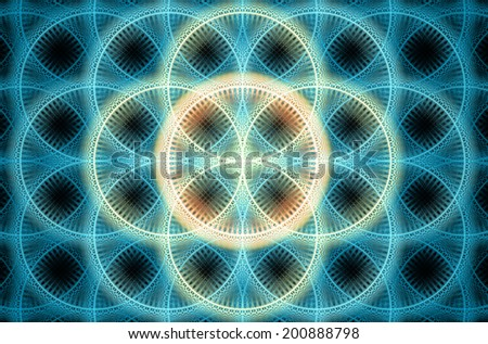 Abstract fractal background with a detailed decorative flower of life pattern in high resolution in shining blue and orange colors against black color - stock photo