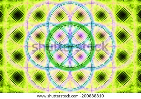 Abstract fractal background with a detailed decorative flower of life pattern in high resolution in yellow, green, pink and blue colors against black  - stock photo
