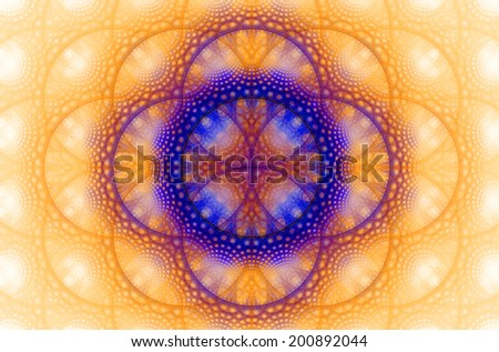 Abstract fractal background with a detailed decorative flower of life pattern in high resolution in light orange, pink and purple colors against white color - stock photo
