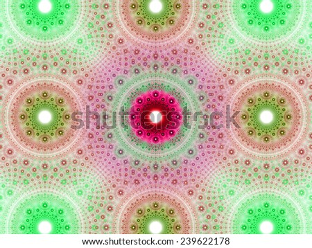 Abstract fractal background with a detailed decorative flower pattern with vortex like infinite decoration in high resolution in light green and pink colors against white color - stock photo