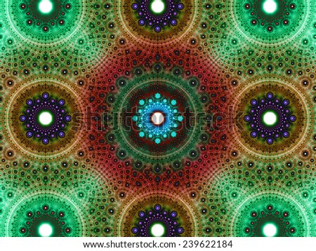 Abstract fractal background with a detailed decorative flower pattern with vortex like infinite decoration in high resolution in dark green,orange,red,blue,purple colors against white color - stock photo
