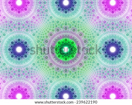 Abstract fractal background with a detailed decorative flower pattern with vortex like infinite decoration in high resolution in light pink,purple,green colors against white color - stock photo