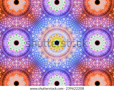 Abstract fractal background with a detailed decorative flower pattern with vortex like infinite decoration in high resolution in bright orange,pink,blue,yellow colors against black color - stock photo
