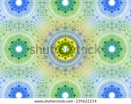 Abstract fractal background with a detailed decorative flower pattern with vortex like infinite decoration in high resolution in light blue,green,yellow colors against white color - stock photo