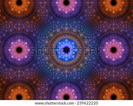 Abstract fractal background with a detailed decorative flower pattern with vortex like infinite decoration in high resolution in pink,purple,orange colors against black color - stock photo