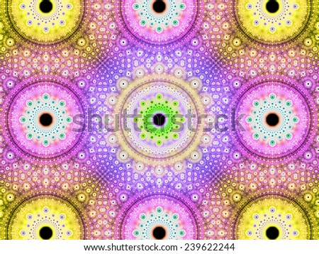 Abstract fractal background with a detailed decorative flower pattern with vortex like infinite decoration in high resolution in bright yellow,pink,purple,green colors against black color - stock photo