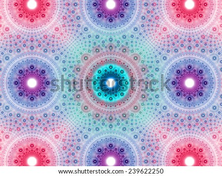 Abstract fractal background with a detailed decorative flower pattern with vortex like infinite decoration in high resolution in light pink,cyan, purple colors against white color - stock photo