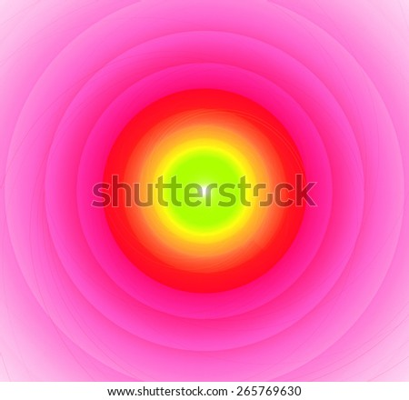 Abstract fractal background with a pattern of large rings and glowing central disc, in high resolution and in vivid green,yellow,red and light pink - stock photo