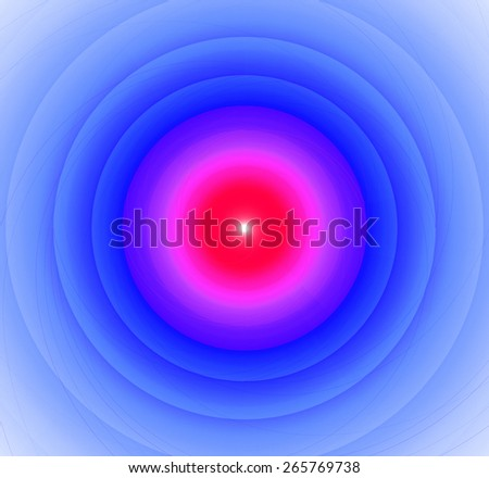 Abstract fractal background with a pattern of large rings and glowing central disc, in high resolution and in vivid red and pink and light blue - stock photo