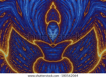 Abstract fractal background with various decorative patterns in flaming orange color against dark blue background resembling a crown - stock photo