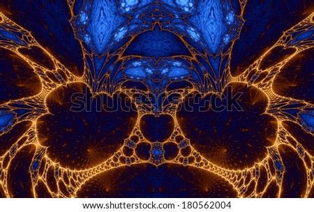 Abstract fractal background with various spirals and decorative patterns in flaming orange color against dark blue background - stock photo