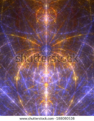 Abstract fractal blooming alien-like flower background in bright orange and purple colors with a detailed star-like beaming decorative pattern and against dark background - stock photo