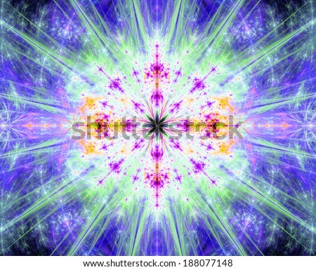Abstract fractal blooming flower or exploding star background in pink, green, purple and yellow colors and in high resolution and against dark background