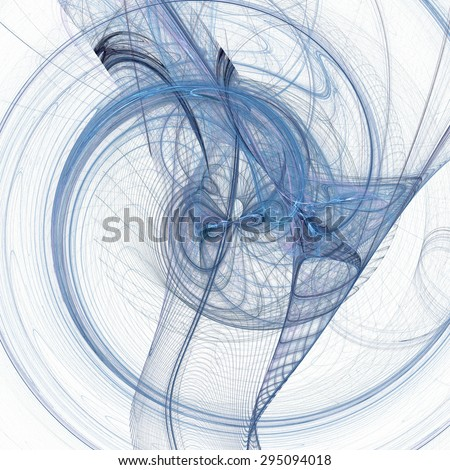 Abstract fractal blue chaotic spiral background on white - stock photo