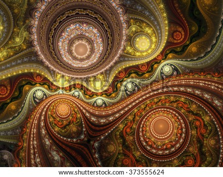 Abstract fractal clockwork with gears, digital artwork for creative graphic design