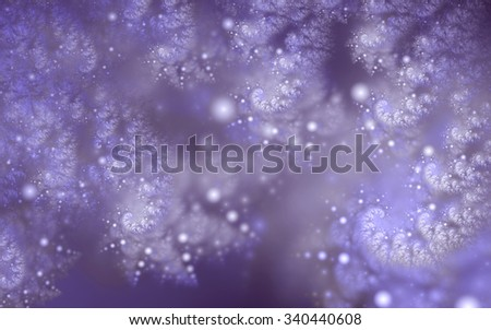 Abstract fractal, decorative blue-white sparkling curls and glowing light spheres, suitable for desktop wallpaper or for creative graphic design.