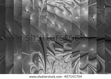 Abstract fractal design in back and grey colors.