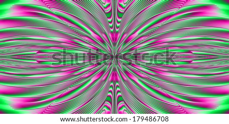 Abstract fractal explosion background with a detailed beaming pattern in high resolution in green and pink colors