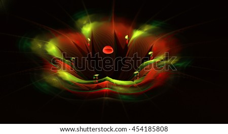 Abstract fractal fantasy mystical red and green flower.Fractal artwork for creative design,flyer cover, interior, poster. - stock photo