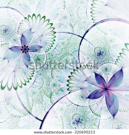 Abstract fractal floral pattern, digital artwork for creative graphic design