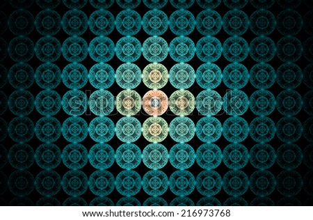 Abstract fractal grid background made out of glowing interconnected blue balls with a detailed decorative pattern  inside of them, and the middle ones being being in yellow and orange