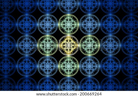 Abstract fractal grid background made out of interconnected circles with a detailed flower pattern inside of them, all in blue and yellow colors and against black color