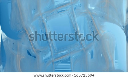 Abstract fractal high resolution light blue and brown background with a detailed abstract pattern/texture on it consisting of various abstract shining lines, circles, waves and shapes. - stock photo